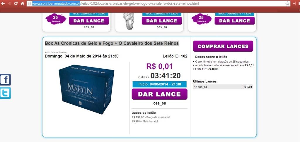 LEILÃO_BOX_CRÔNICAS_DE_GELO_E_FOGO_E_O_CAVALEIRO_DOS_SETE_REINOS
